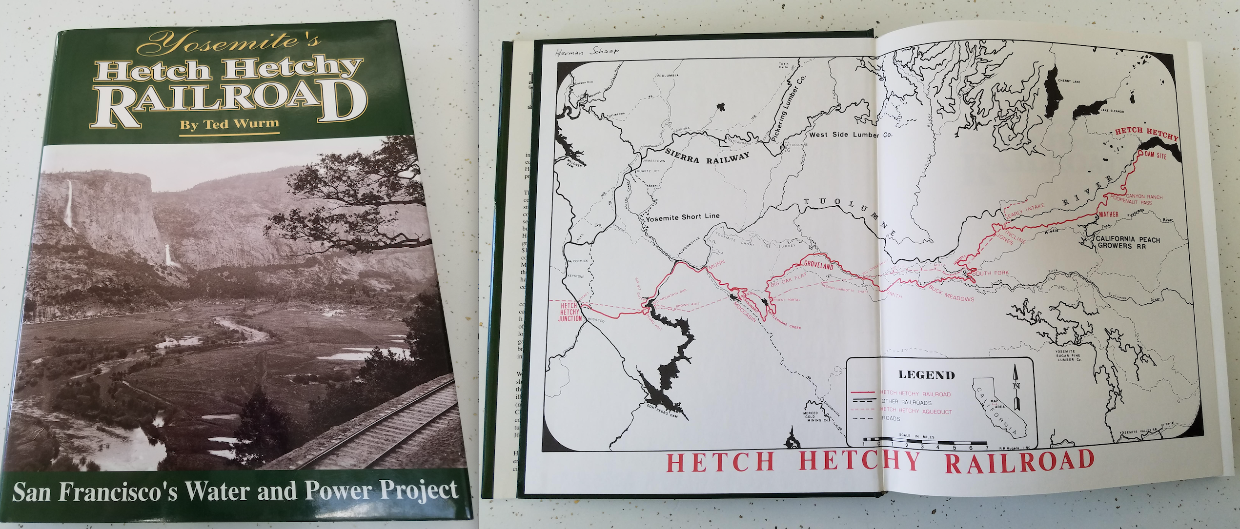 Photo of Ted Wurm's book about the Hetch Hetchy Railroad